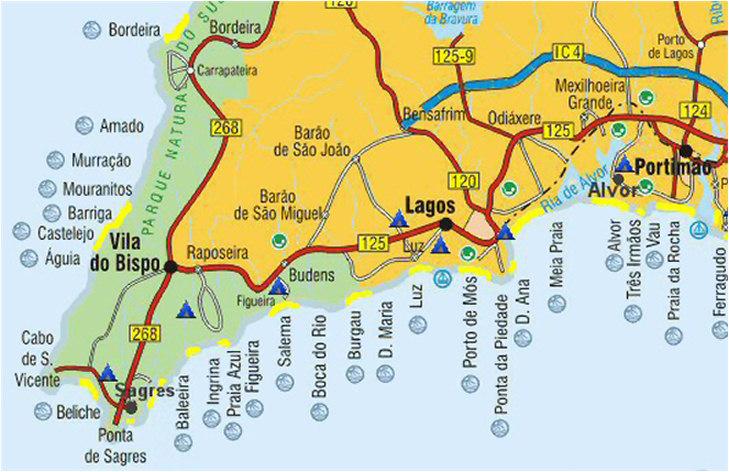 algarve strände karte Algarve Tourist Guide   Beaches